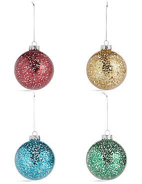 4 Pack Bright Stars Glass Baubles, , catlanding