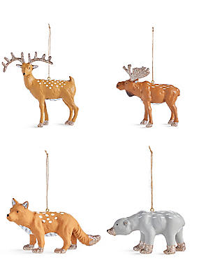 4 Pack Woodland Animal Decoration Baubles, , catlanding