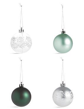 12 Silver Green Shatterproof Baubles, , catlanding