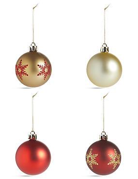 12 Decorative Red Shatterproof Baubles, , catlanding