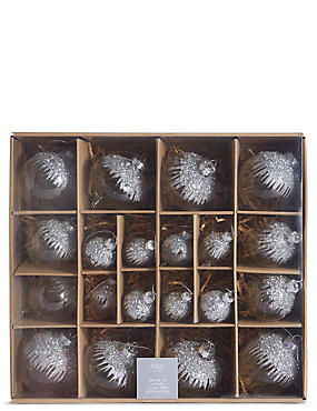 20 Silver Glass Tree Bauble Pack, , catlanding