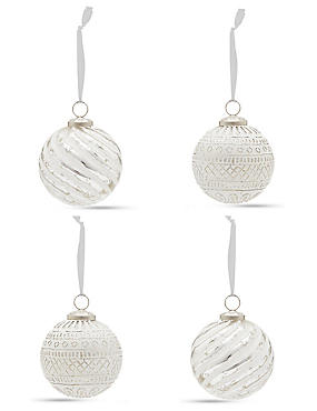 4 Silver & White Indian Glass Baubles, , catlanding