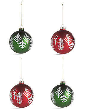 4 Pack Lodge Print Glass Baubles, , catlanding