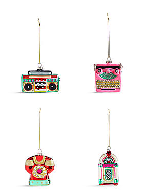 4 Pack Retro Icons Moulded Glass Baubles, , catlanding