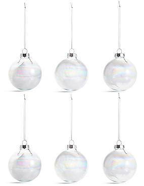 6 Pack Trapped Feather Glass Baubles, , catlanding