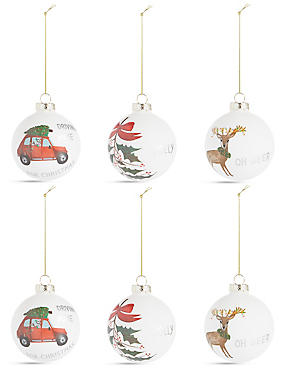 6 Pack Lodge Scene Glass Baubles, , catlanding