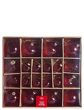 20 Pack Red Studio Glass Baubles, , catlanding