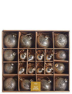 20 Pack Gold Decorative Glass Baubles, , catlanding