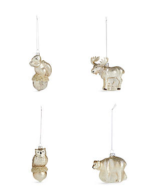 4 Arctic Animals Moulded Glass Baubles, , catlanding