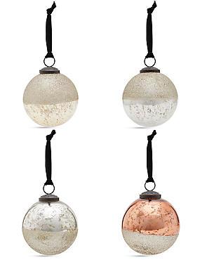 4 Gold & Copper Indian Glass Baubles, , catlanding