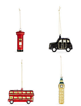 4 Pack London Icons Moulded Glass Baubles, , catlanding