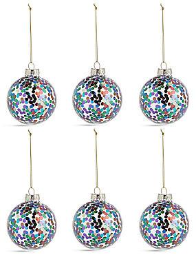 6 Pack Multi Glitter Spot Glass Baubles, , catlanding