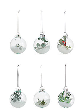6 Pack Trapped Foliage Glass Baubles, , catlanding