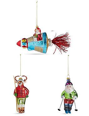 3 Pack Travelling Santa's Moulded Glass Baubles, , catlanding