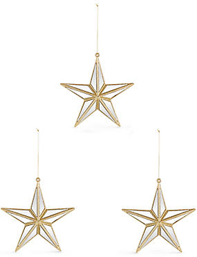 3 Pack Gold Star Baubles, , catlanding