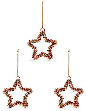 3 Pack Copper Bell Star Baubles, , catlanding