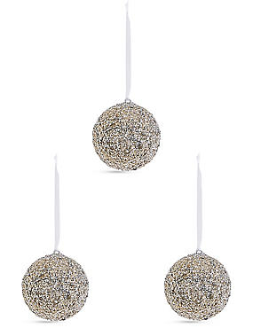 3 Pack Large Silver Glitter Baubles, , catlanding