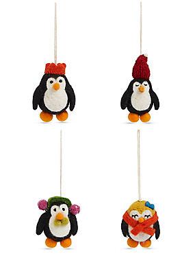 4 Penguin Tree Decoration Baubles, , catlanding