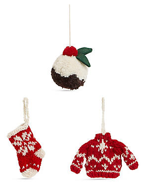3 Pack Knitted Christmas Icon Baubles, , catlanding