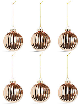 6 Pack Copper Swirl Glass Baubles, , catlanding
