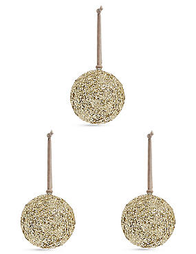 3 Pack Large Gold Glitter Bauble, , catlanding