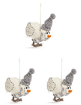 3 Pack Natural Robin Character Baubles, , catlanding