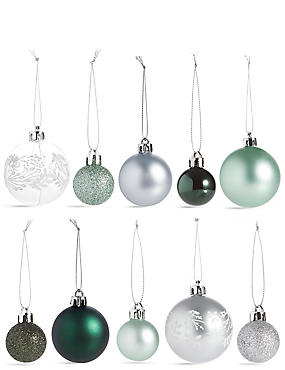 64 Pack of Shatterproof Baubles, SILVER MIX, catlanding