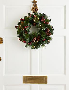 16 inch Lit Winterberry Wreath, , catlanding