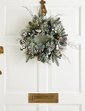 16 inch Lit Snowy Berry Wreath, , catlanding