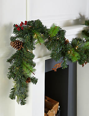 12Ft Lit Winterberry Garland, , catlanding