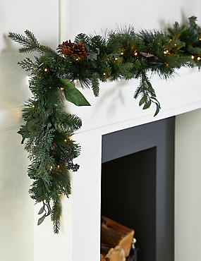 6Ft Lit Natural Leaf & Berry Garland, , catlanding