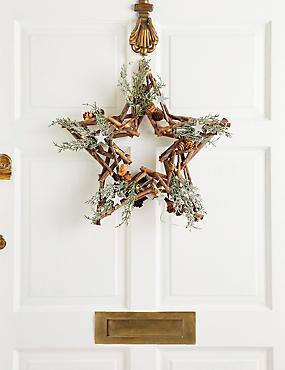 18 inch Lit Rustic Star Wreath, , catlanding