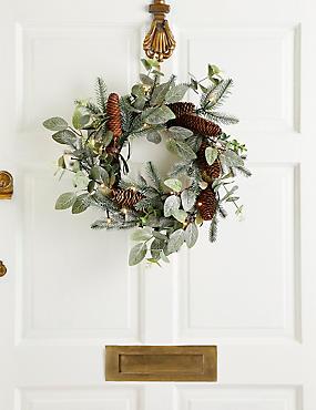 18 inch Lit Eucalyptus & Pinecone Wreath, , catlanding