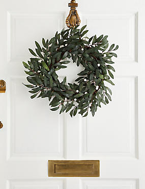 18 inch Olive Leaf & White Berry Wreath, , catlanding