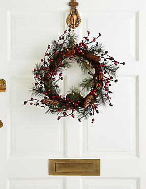 18 inch Lit Red Berry & Pinecone Wreath, , catlanding