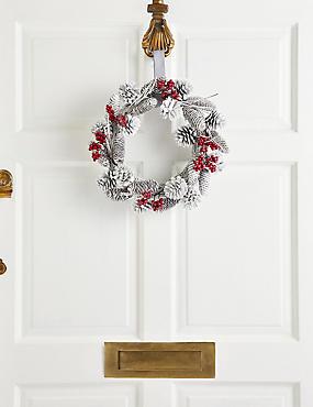 13 inch White Pinecone Wreath, , catlanding