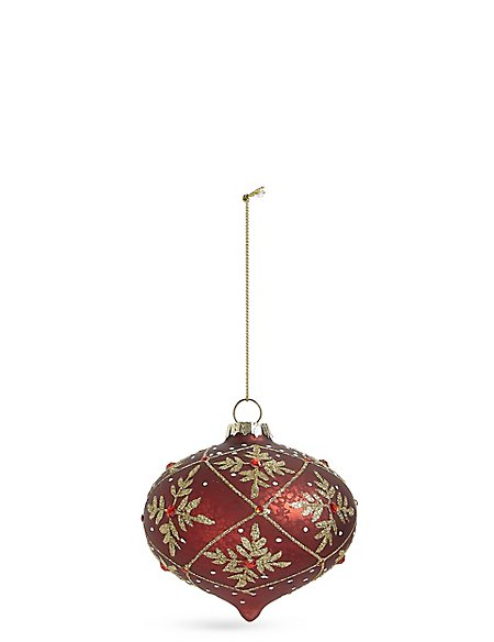 Red Floral Glass Onion Bauble