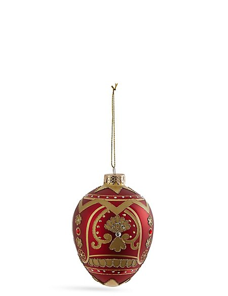 Red Faberge Glass Bauble