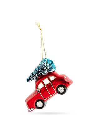 Red Glass Car with Tree