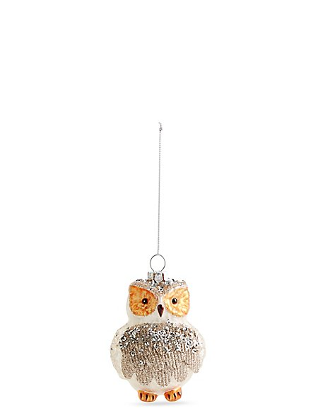 Glass Owl Bauble with Glitter