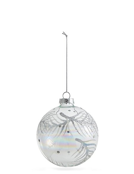Clear Glass Bauble With Glitter Feather Design