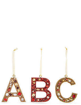 A-Z Hanging Boutique Jewel Alphabet Baubles