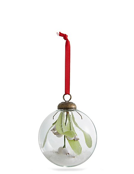 Trapped Mistletoe Glass Bauble