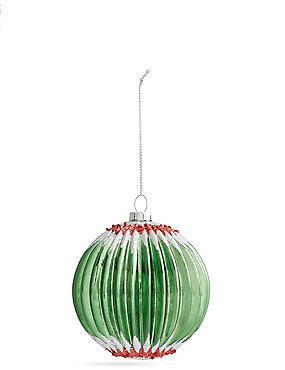 Green Zig Zag Glass Bauble