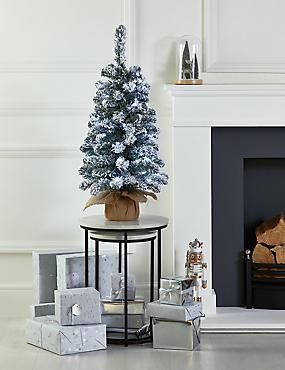 3Ft Lit Snowy Tree, , catlanding