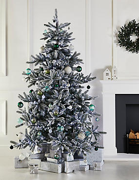 7Ft Lit Frosted Noble Spruce Tree, , catlanding
