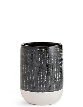 14cm Tall Dark Grey Glazed Grid Planter, , catlanding