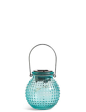 Small Turquoise Solar Jar Light, , catlanding
