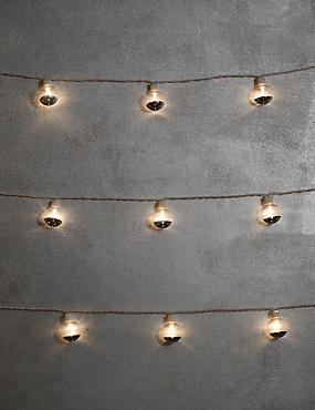 20 White & Silver Festoon Battery Lights