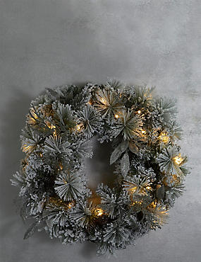 Large Snowy Light-up Wreath